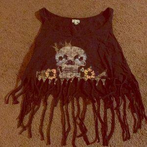 Skull fringe crop top